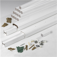 "AZEK 6' x 36"" WHITE PREMIER RAILKIT. COMPLETE KIT INCLUDES TOPRAIL,BOTTOM RAIL, 2 SUPPORT RAILS,HARDWARE, FOOTBLOCKS, BALUSTERSNO RETURNS IF OPEN BOX - Building Materials 